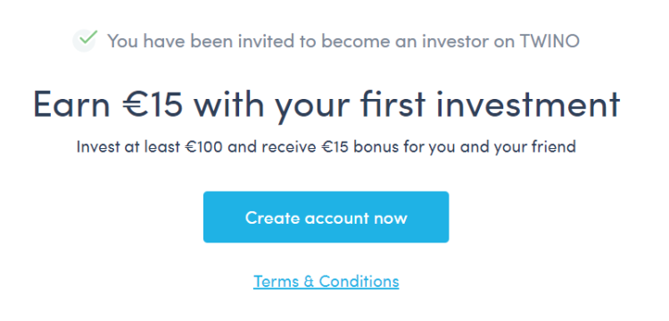 15€ de bonus pour 100€ investis avec Twino. Profitez de ce parrainage pour vous lancez et augmenter votre rentabilité!