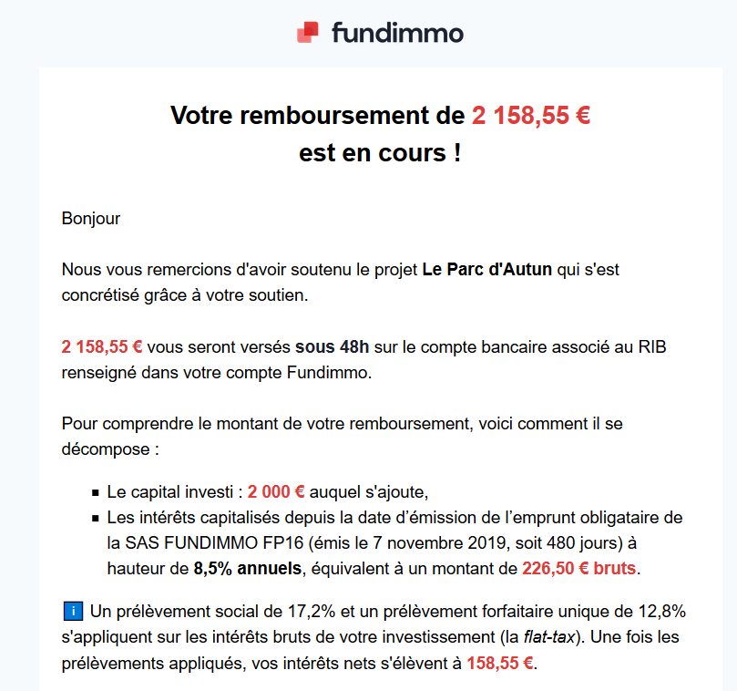Remoursement Fundimmo de Juin 2021 suite à mes investissements de 2000€ en crowdfunding immobilier sur cette plateforme