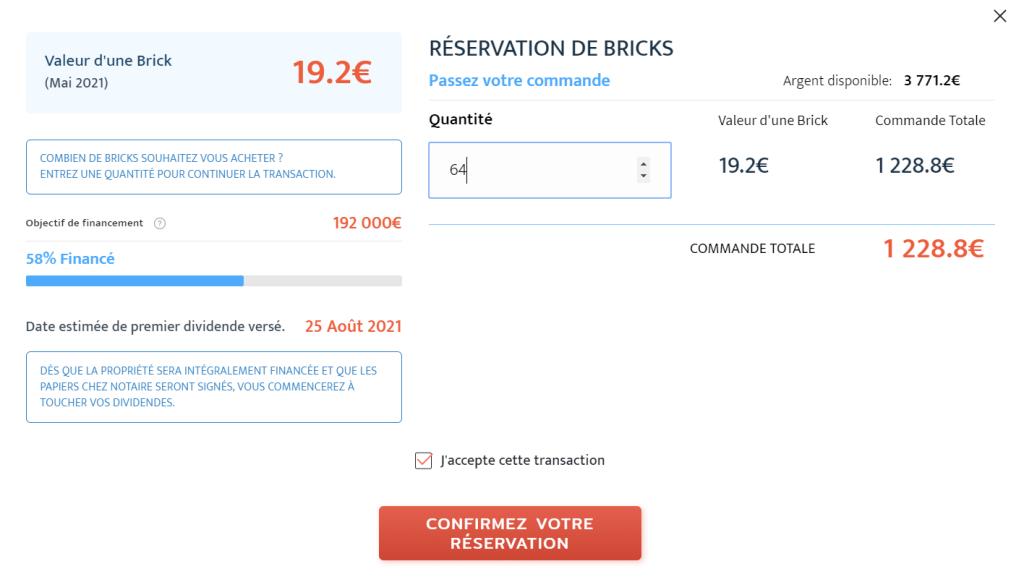 Réservation de bricks du projet immeuble Jean Moulin à 19.2€ l'unité.