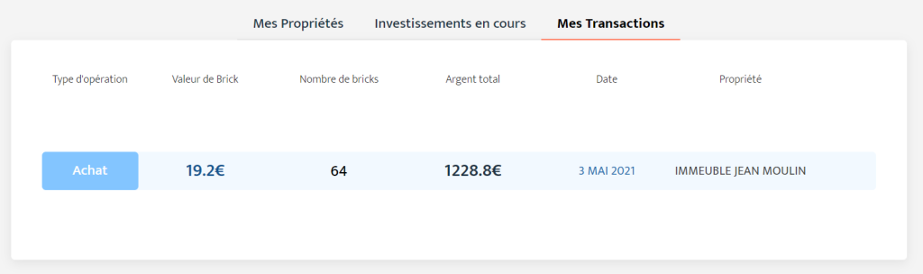 Situation de mes transactions chez Bricks.co