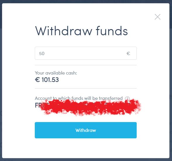 Fenêtre de retrait d'argent chez Twino