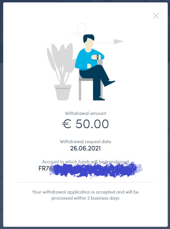 Fenêtre de confirmation de retrait d'argent chez Twino