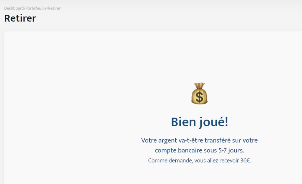 Succès - Le retrait d'argent de 36€ à réussi chez Bricks.co