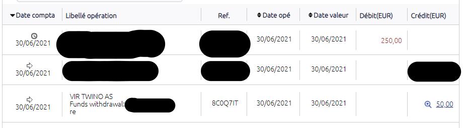 Extrait de compte en banque de Sebino pour montrer le virement de 50€ de Twino vers son compte en France.